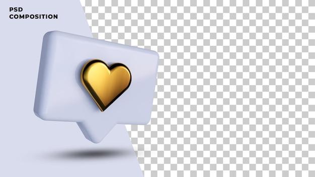 소셜 미디어 알림의 3d 렌더링처럼 프리미엄 PSD 파일