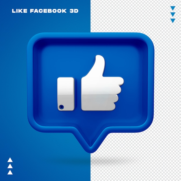 Like facebook 3d isolated Premium Psd