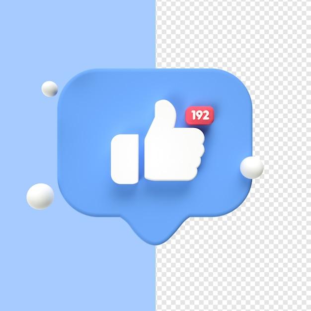 Like facebook icon transparent 3d Premium Psd