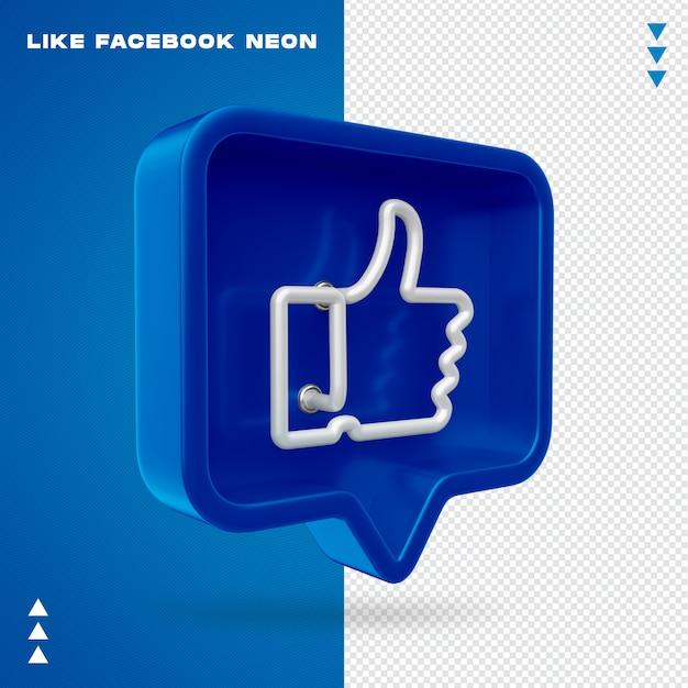 Like facebook neon isolated Premium Psd