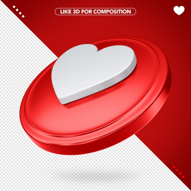 Like facebook red in 3d with heart Premium Psd