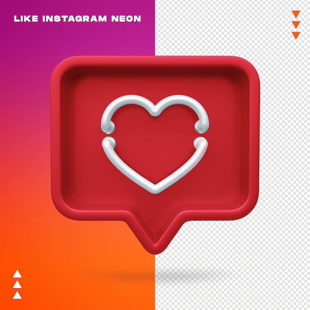 Like instagram neon isolated Premium Psd