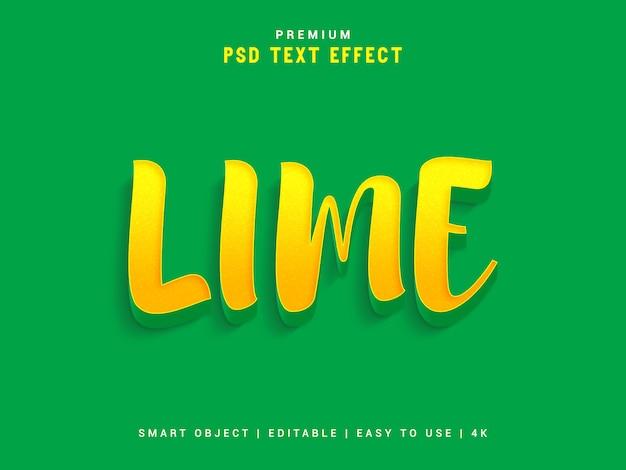 Lime psd текстовый эффект, 3d реалистичный шаблон, стиль текста. Premium Psd