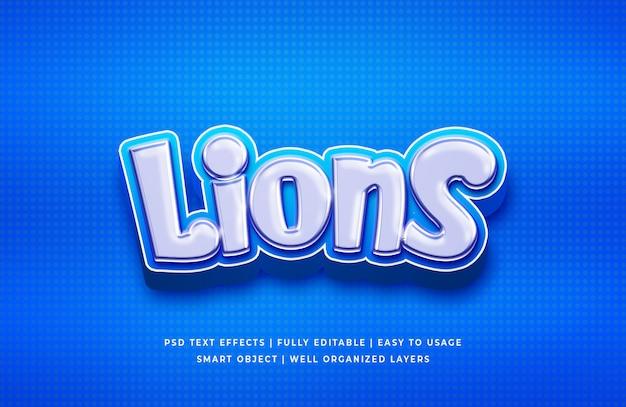Львы 3d текстовый эффект Premium Psd