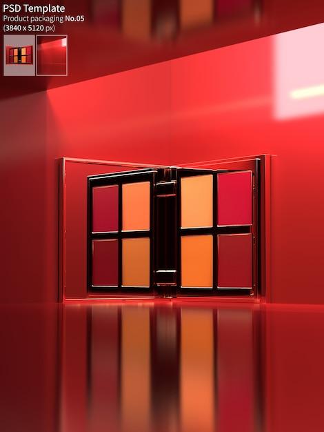 Палитра помады на красном фоне стены 3d визуализации Premium Psd