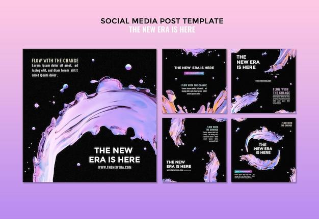 액체 디자인 소셜 미디어 게시물 템플릿 무료 PSD 파일