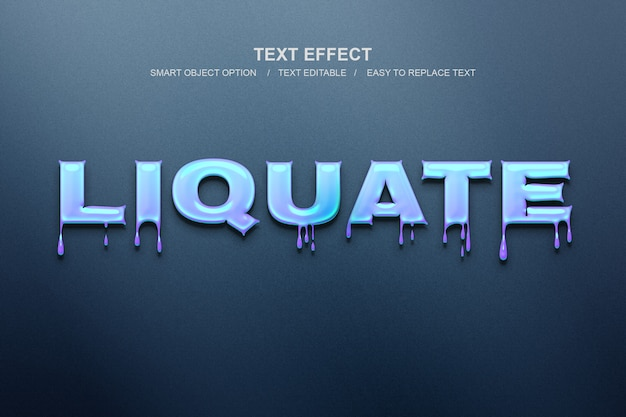 Liquid text effect Premium Psd
