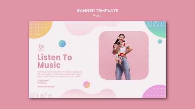 Listen to music banner web template Free Psd