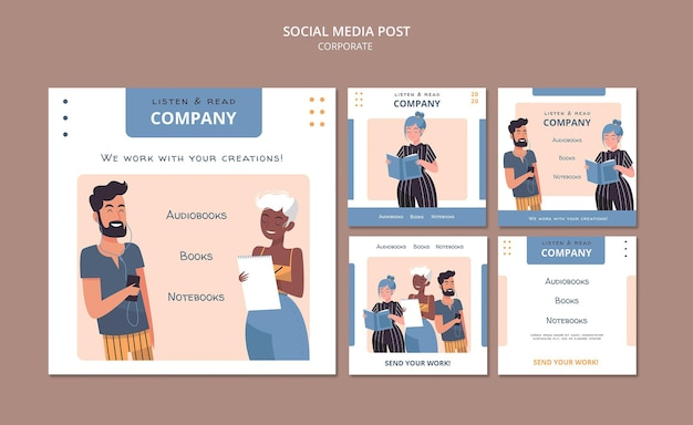 Listen and read corporate social media post Premium Psd