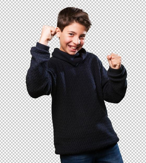 Little boy winning Premium Psd