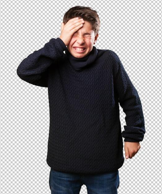 Little boy with headache Premium Psd