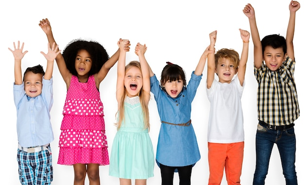 Little children with hands up Free Psd