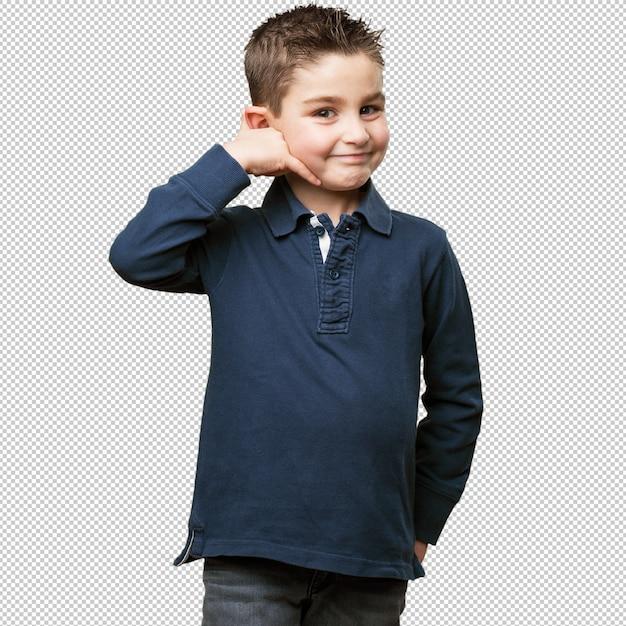 Little kid calling gesture Premium Psd