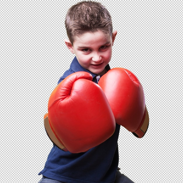 Little kid fighting with red boxing gloves | Premium PSD File