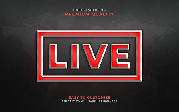 Live 3d text style effect mockup Premium Psd