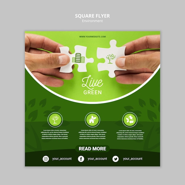 Live green environment with puzzle pieces square flyer template Free Psd