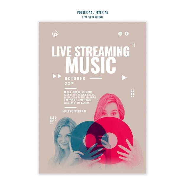 ライブ音楽ストリーミングチラシテンプレートスタイル 無料 Psd