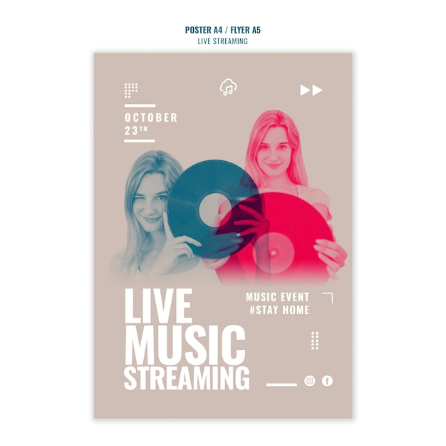 ライブ音楽ストリーミングチラシテンプレート 無料 Psd