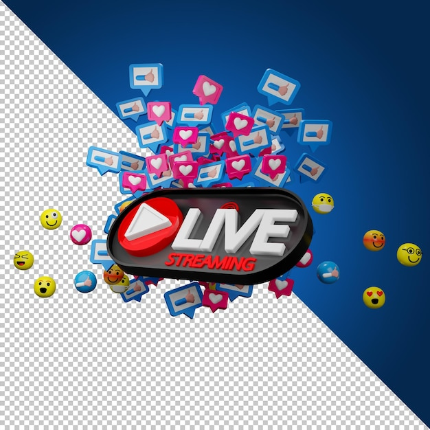 Live stream sign and emotion icons in 3d rendering Premium Psd
