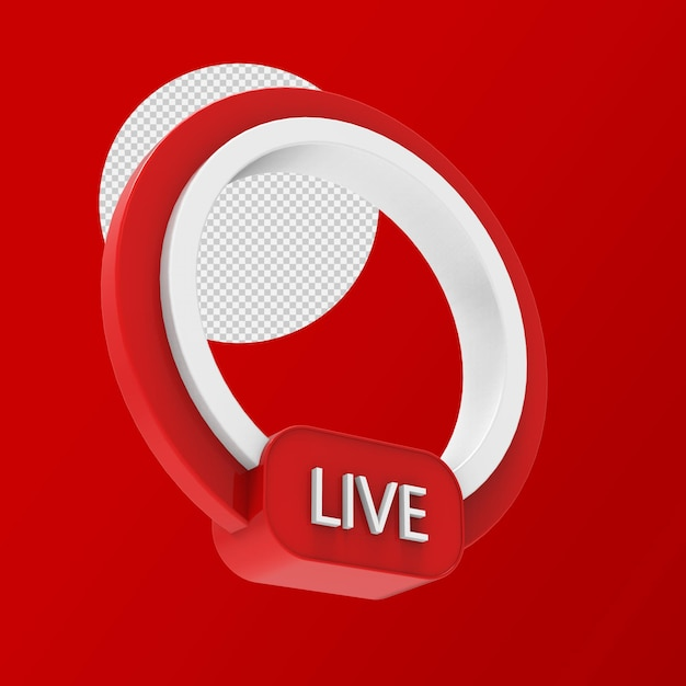 Live streaming 3d badge isolated rendering Premium Psd