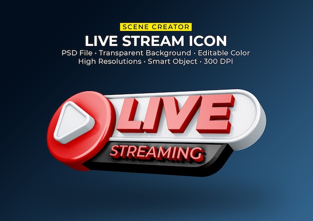 Live streaming 3d render icon badge isolated Premium Psd