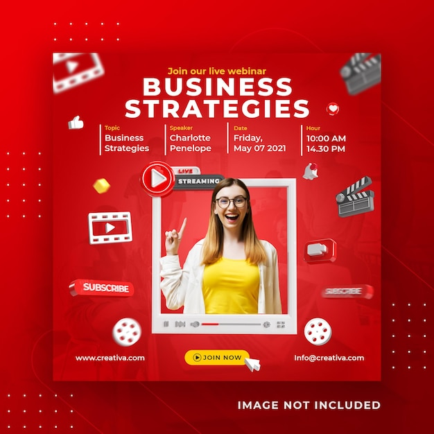 Live streaming business workshop social media post instagram template Premium Psd