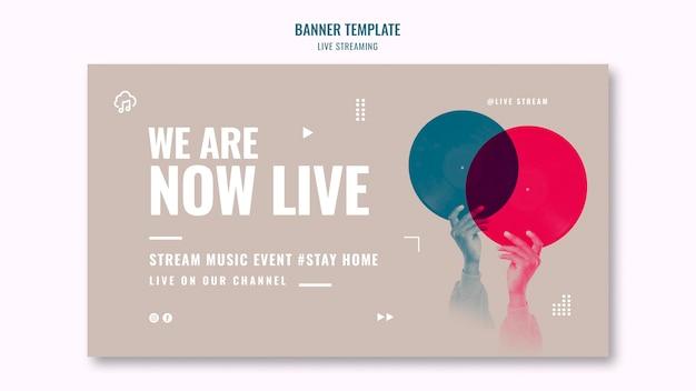 Modello di banner orizzontale in streaming live Psd Gratuite