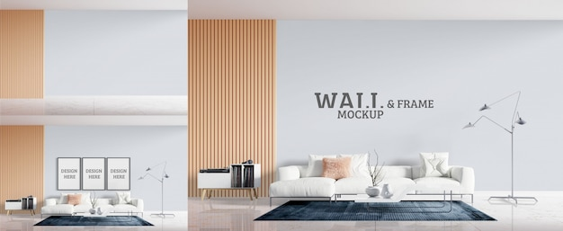 Living room has a white sofa. wall and frame mockup Premium Psd