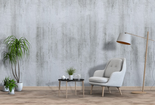 Living room interior in modern style with armchair and decorations. Premium Psd
