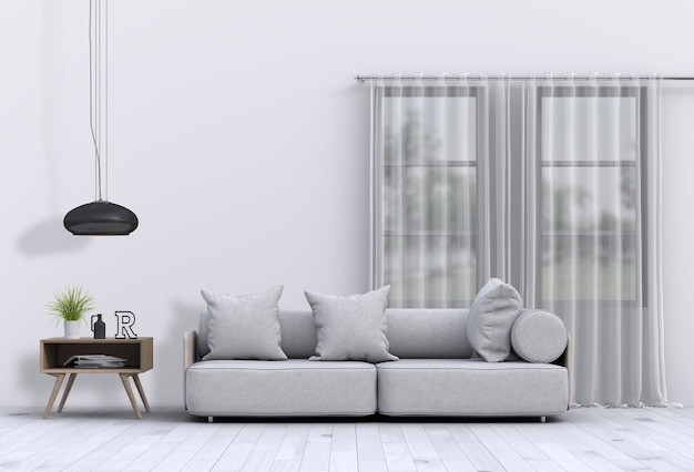 Living room interior in modern style with sofa and decorations rendering Premium Psd