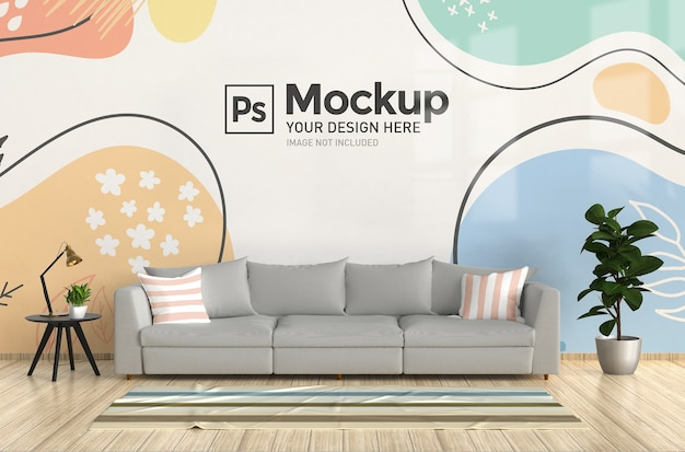 Living room interior wall mockup with sofa and rug realistic 3d render Premium Psd