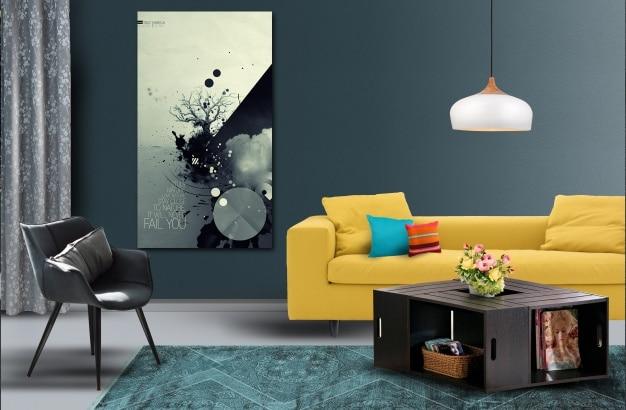 Living room mockup Free Psd