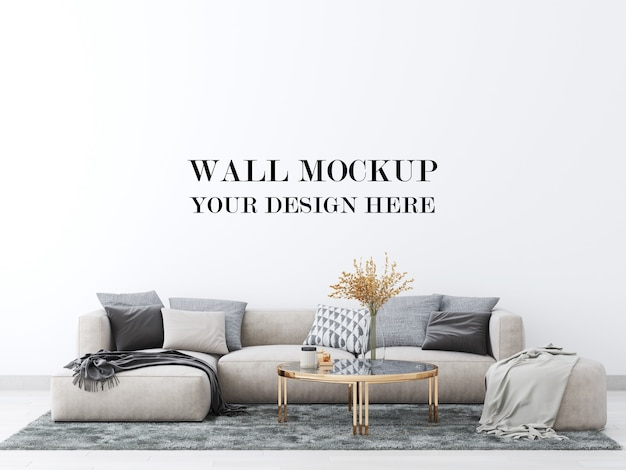 Living room wall mockup with large comfortable sofa 3d render Premium Psd