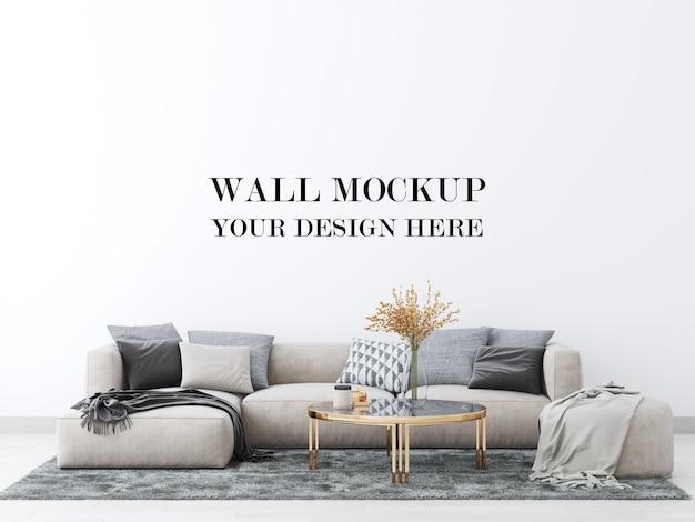 Mockup tường phòng khách với ghế sofa lớn thoải mái 3d render