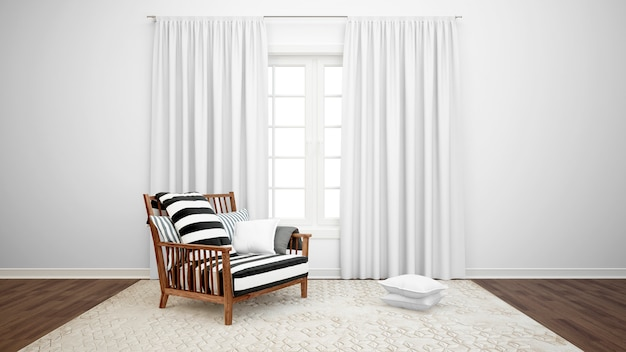 Living room with armchair and large window with white curtains Free Psd