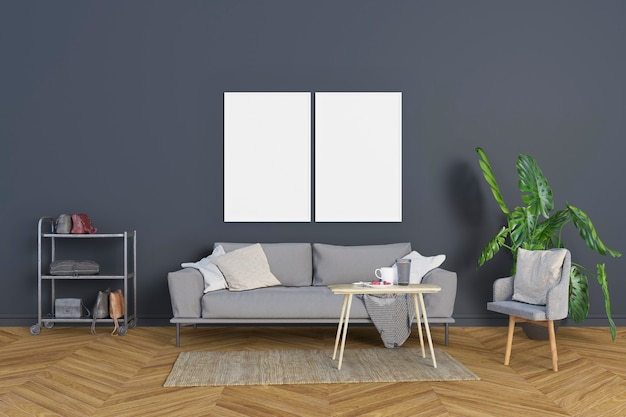 Living room with blue-gray walls and frames Premium Psd