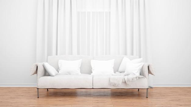 Soggiorno con divano elegante e ampia finestra con tende. concetto minimale Psd Gratuite