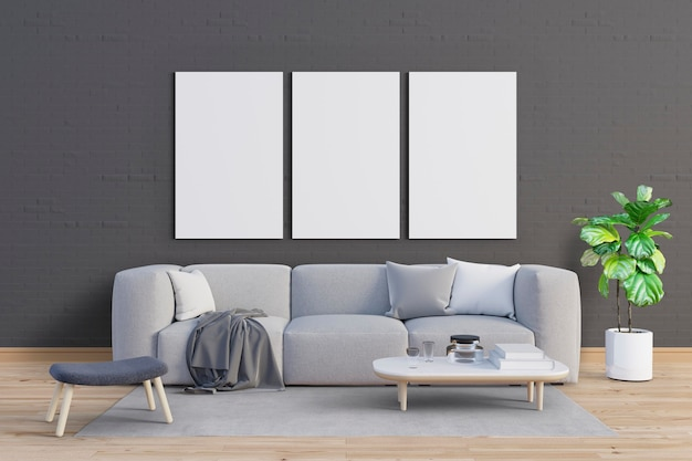 Living room with gentle tones and mockup frames set Premium Psd