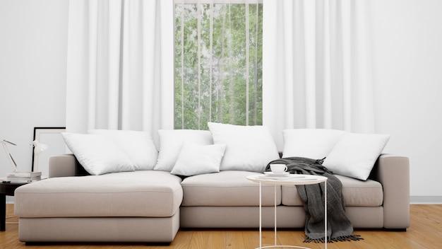 Гостиная с серым диваном и большим окном Бесплатные Psd