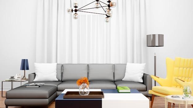 Гостиная с серым диваном и предметами Бесплатные Psd
