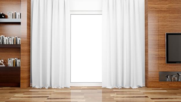 Гостиная с большим окном Бесплатные Psd