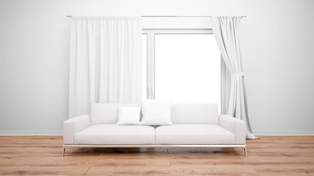 Living room with minimalist sofa and large window with white curtains Free Psd