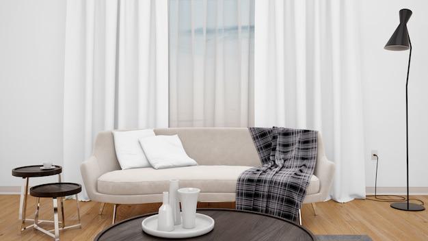 Гостиная с современным диваном и большим окном Бесплатные Psd