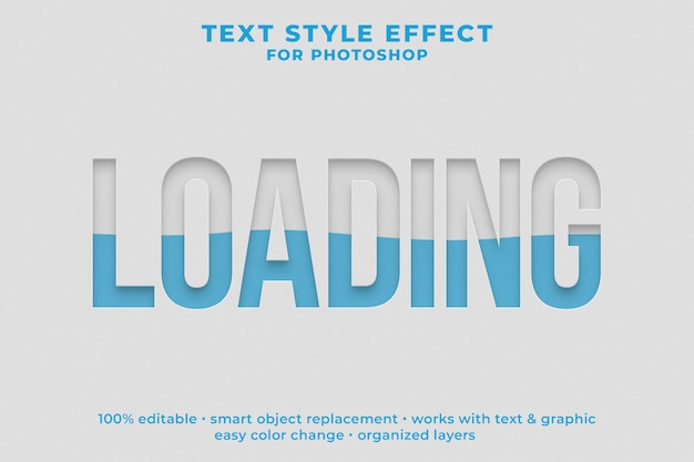 Loading 3d text style effect psd template Premium Psd