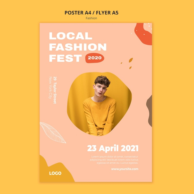 Local expo male fashion flyer template Free Psd