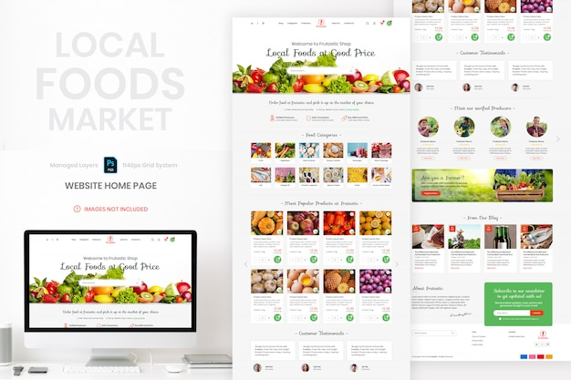 Local food market website home page template Premium Psd