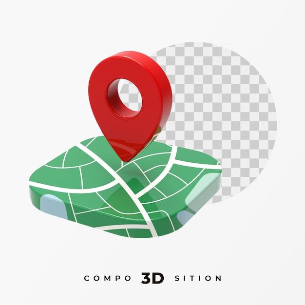 Location icon 3d rendering