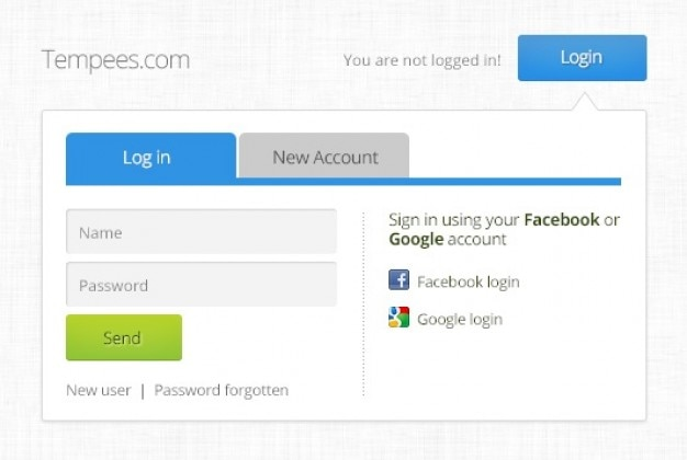 Login box and new account PSD file | Free Download