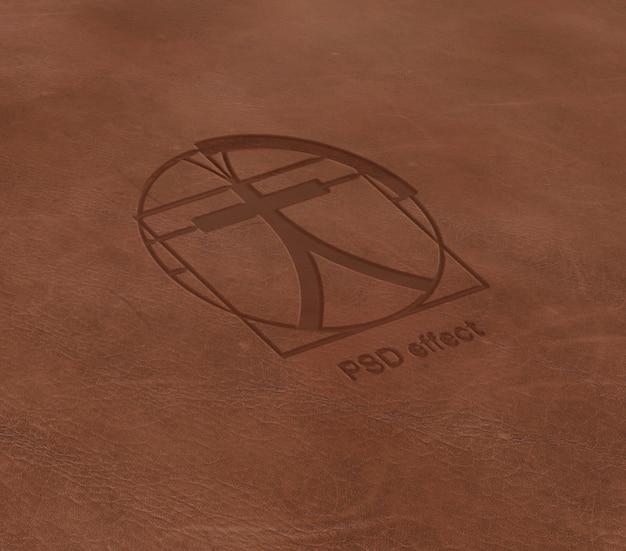 レザーモックアップへのロゴの効果 無料 Psd