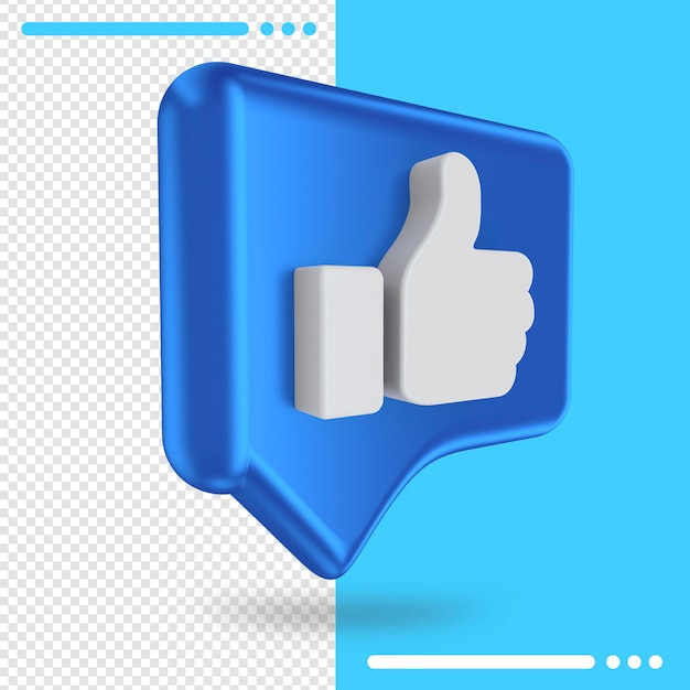 Logo of facebook like in 3d rendering Premium Psd